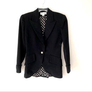 Vintage Christian Dior Black Wool Blazer Pearl 4